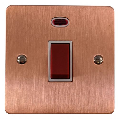 G&H FRG46W Flat Plate Rose Gold 45 Amp DP Cooker Switch & Neon Single Plate